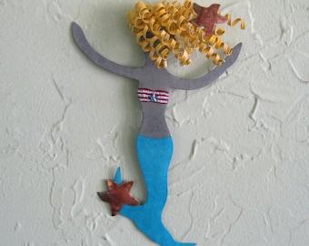 Metal Wall Art Mermaid Sculpture Pearl Recycled Metal Beach House Coastal Decor Bathroom Art Indoor Outdoor Aqua Blue Blonde 6 x 8