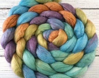 Handpainted Merino Silk 50/50 Wool Roving - 4 oz. ARIZONA - Spinning Fiber