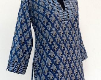 Printed cotton indigo blue print block 3/4 sleeve TUNIC TOP