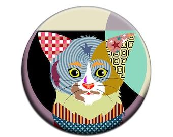 Cat Fridge Magnet, Cute Cat Accessories, Gift Idea For Her, Animal Magnet, Cat Lover Gift,   2. 25 inches diameter