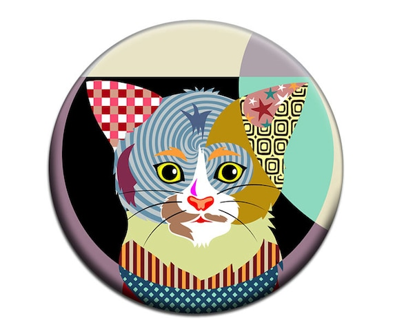 Cat Fridge Magnet, Cute Cat Accessories, Gift Idea For Her, Animal Magnet, Cat Lover Gift,   2. 25 inches diameter