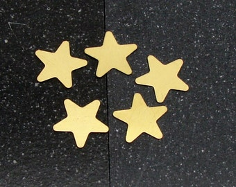 20mm Brass 5-Point Star 24 Gauge  Pack of 5