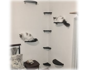 8pc Corner Wall Cat Tree Tower | Lunar Collection | Modern Wall-mounted Cat Bed Shelves for climbing, lounging and playing