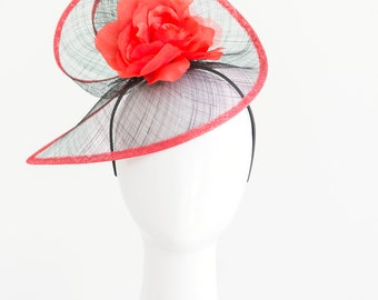 Red and Black Fascinator, Tea Party Hat, Church Hat, Kentucky Derby Hat, Fancy Hat, Red Hat, Tea Party Hat, wedding hat, womens hat