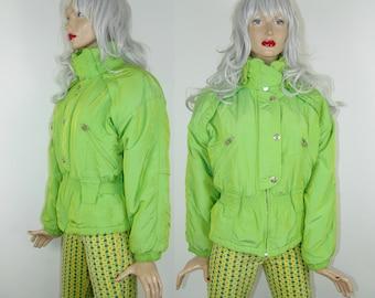 BELFE&BELFE Bright green puffer jacket XS/S/M size, 1990's vintage colorful outwear, 80s oversized fashion