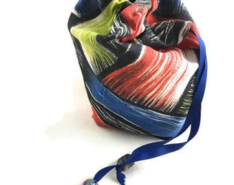 Colorful drawstring gaming bag for game pieces, cards, dice etc