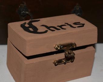 Men's Personalized Woodburned Jewelry Box