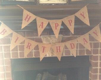 Mini Red Letter Happy Birthday Burlap Banner / Bunting