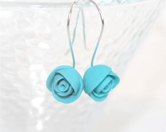 Earrings * small turquoise Roses *.