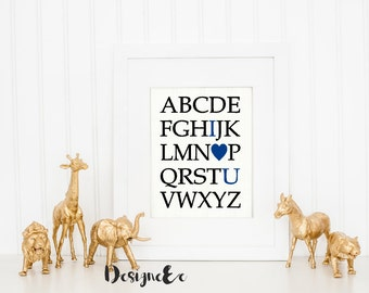 Quote Print - ABC I Heart You - Color Customizable