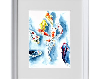 Framed Koi fish watercolour print