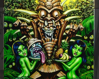BigToe's Zombie Tiki Deluxe Canvas Wrap Giclee Print