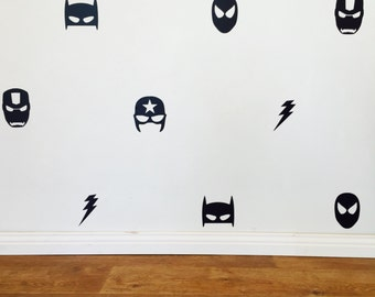 Mixed Superhero Wall Decals   Removable Vinyl Wall Decals/stickers Batman  Superman Ironman Flash Captain