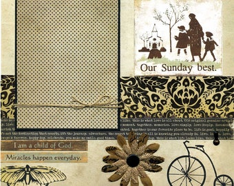 Our Sunday Best - 12x12 Premade Scrapbook Page