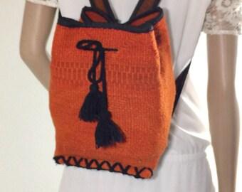 Burnt Orange, Woven Shoulder Bag. Backpack Bag, Guatemala