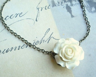 Creme Rose Flower Necklace Flower Girl Necklace Bridesmaid Necklace Flower Jewelry Creme Carved Rose Pendant