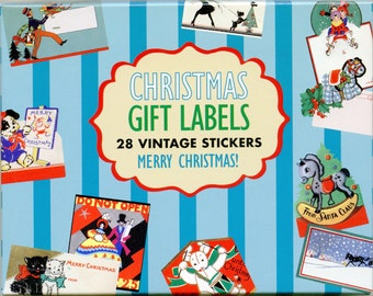 Christmas GIFT LABELS, Christmas Present Labels, Christmas To From Labels, Vintage Christmas Stickers, Retro Christmas Stickers
