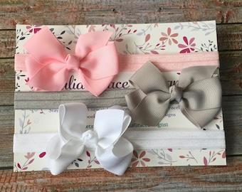 3 Bow Headbands, Bow Headband Set, Baby Headband, Newborn Headband, Baby Girl Headband, Hair Bow, Gift Set, Headband, Infant Headband, Baby