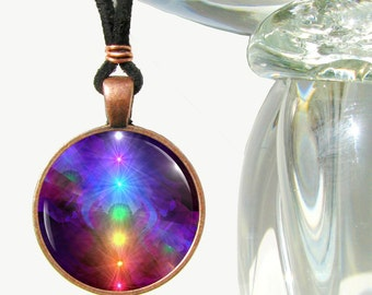 "Rainbow Jewelry, Chakra Necklace, Reiki Energy Wearable Art Pendant ""Chakra Healing"""