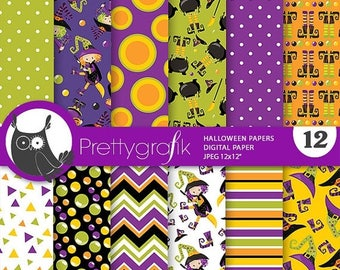 80% OFF SALE Halloween digital papers, Halloween scrapbook papers commercial use, witch scrapbook papers, background  - PS815