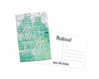 4x6 Postcard Love to Highest Mountains Moms, Dads and Grads Map Print Hand Lettering Travel Mint Postcard set