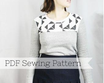 Long Sleeve Knit Yoke Tee PDF Sewing Pattern - Top, Shirt, T-Shirt, Women, ladies, sweater, jumper, sweatshirt
