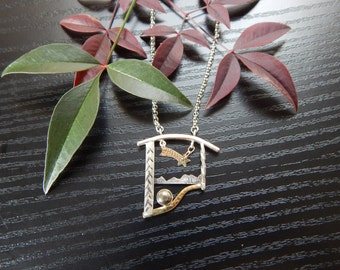 Shooting Star - Artscape Pendant Necklace in Sterling Silver, Mokume, Gold