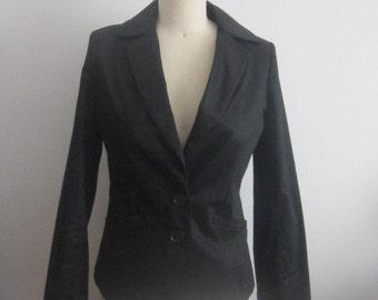 Women Vintage cotton jacket, Black Vintage Cotton jacket women 80 s 2 button fitted jacket blazer Women black  jacket Black cotton blazer
