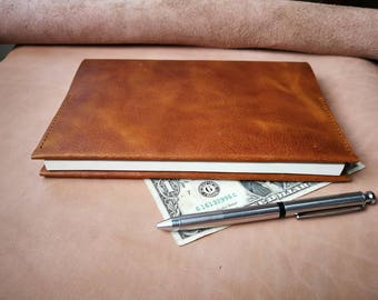 Brown genuine cow leather book cover, note book cover
