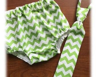 Necktie or Bowtie, Diaper Cover Set Green White Chevron Photography Prop, Dressy Baby Boy