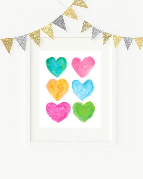 Preppy Girls Print, 8x10 Watercolor Heart Print