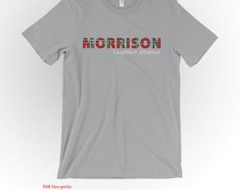 Morrison Clan Tartan and Motto T-Shirt Silver Shirt Scottish Clan Apparel