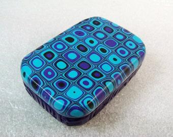 Handmade Metal Tin - Blue and Aqua Tin Box, Mini Box, Gift Box, Polymer Clay Tin, Gustav Klimt, Gift for Her, Mom Gift, Bridesmaid Gifts