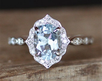 Floral Halo Aquamarine Engagement Ring VS 6*8mm Oval Cut Aquamarine Ring Vintage Gemstone Ring Stackable Promise Ring 14K White Gold Ring