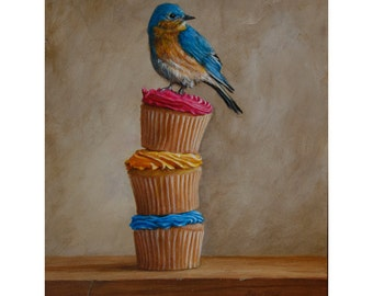 Bluebird and Cupcakes large print
