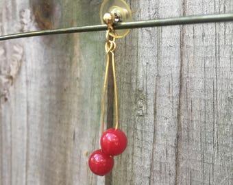 Cherry bomb red dangle earrings /gold / long / dangle / rockabilly