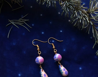 LAVENDER | hand painted clay drop earrings