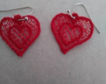 Lace heart earrings.  Delicate heart earrings.
