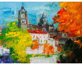 Cathedral Of Salamanca In Autumn Original Oil Painting Fall Abstract Colourful Large Cityscape Paintings City Spain Palette Knife Landscape