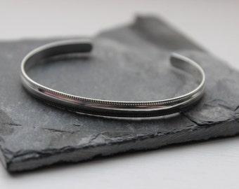 Sterling Silver Cuff- Half Round - Polished or Oxidized Silver