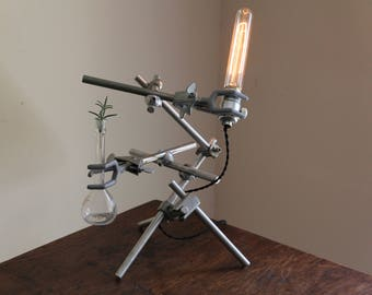 Modern articulating science industrial lamp decor upcycled elegant studio desk light, chemistry gift, fully adjustable lab clamps reclaimed