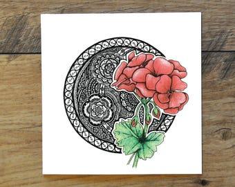Scorpio : Geranium (23rd Oct - 21st Nov) Zodiac Greeting Card (blank inside)