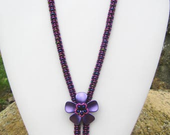 Necklace tutorial, tutorial beads, Necklace Bead patterns, beads, purple iris necklace instructions