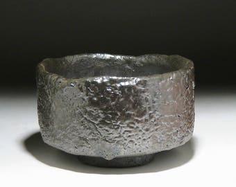 Wood Fired Tea Bowl. Chawan. Black Raku. Tenmoku
