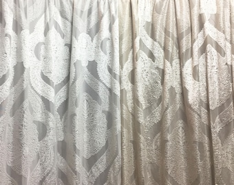 Sheer Fabric - Polyester Patterned Semi-Sheer Panel - White or Champagne Sheer - Medallion Motif in Low Pile Velvet - P12 - 1 Panel