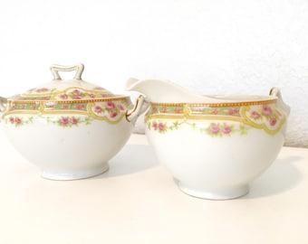 Vintage Limoges France pink pastel floral sugar bowl and creamer for teaparty