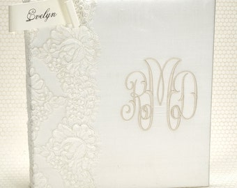 Lace Wedding Memory Book - Bride Gift from Mom - Wedding Guestbook with Photos - Unique Guest Book - Bride Book - Monogram Guestbook- Evelyn