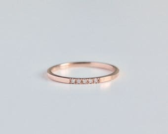 14k gold diamond wedding ring, rose gold ring, april birthstone, diamond ring, thin gold ring