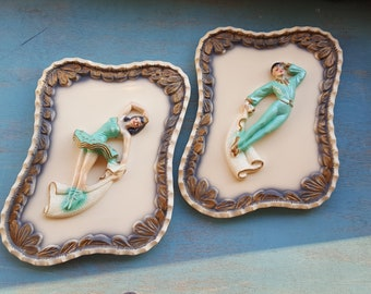 Mid Century Plaster Ballet Wall Hangings, Vintage Girl's & Nursery Decor