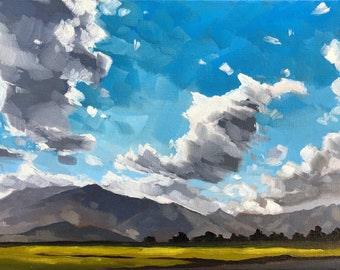 California Oil Painting -  9x12 -Mountain Landscape painting by Sharon Schock